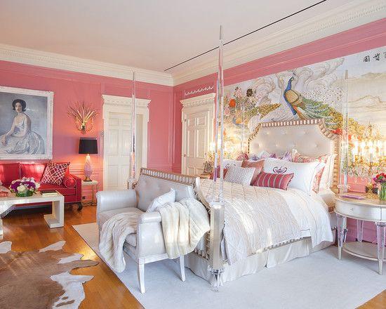 孔雀厅欧式宫廷风奢华粉白调卧室
